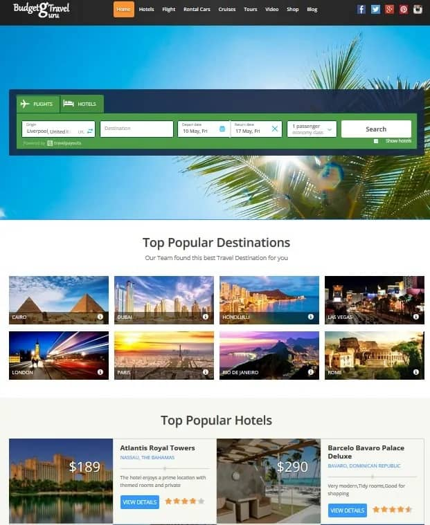 Travel Payouts Website